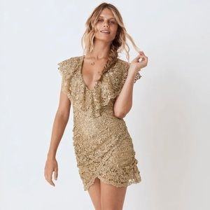Spell & The Gypsy Collective Nina Gold Dress NWT